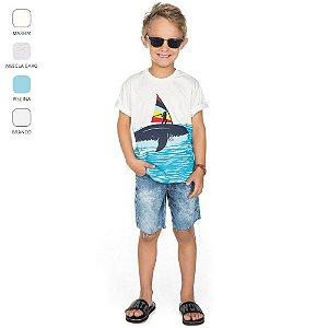 Camiseta Infantil com Meia Manga para Menino (Verão)