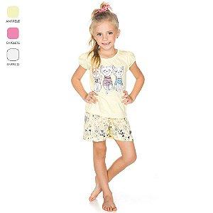 Pijama Infantil Camiseta Meia Manga para Menina (Verão)