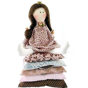 Boneca de Pano Princesa Ervilha Morena