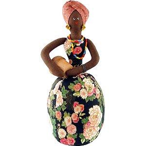 Boneca de Pano Africana com Turbante A44