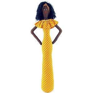 Boneca de Pano Africana Vestido Longo Amarelo