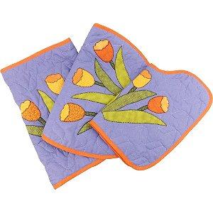 Jogo de Tapetes para Banheiro de Patch Aplique Tulipas Lilás