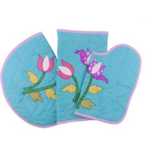 Jogo de Tapetes para Banheiro de Patch Aplique Papoulas Azul
