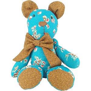 Ursinho de Tecido para Decoração Ted Azul