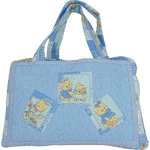 Bolsa Maternidade de Patchwork Azul de Ursinhos