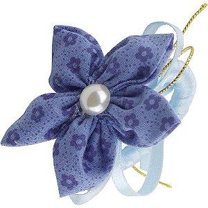 Porta Guardanapo de Flor de Fuxico Azul 6 Unidades
