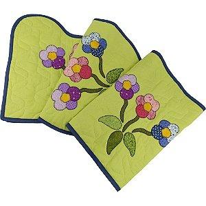 Jogo de Tapetes para Banheiro de Patch Aplique Verde Flores