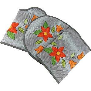Jogo de Tapetes para Banheiro de Patch Aplique Cinza Tulipa e Flor