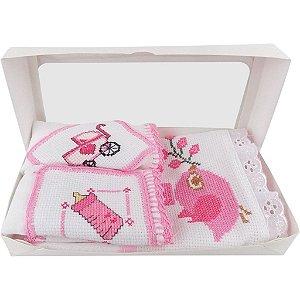 Fralda de Ombro e Boca Bordadas para Menina Caixa com 3 Unidades