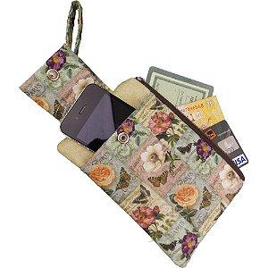 Porta Celular e Carteira de Patchwork Bege com estampa de Rosas