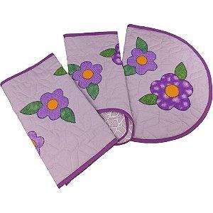 Jogo de Tapetes para Banheiro de Patch Aplique Flores Lilás