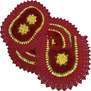 Jogo Tapetes de Crochê para Banheiro Fio Trento e Flores Amarelo Mesclado