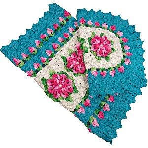 Jogo Tapetes de Crochê para Banheiro Azul Turquesa com Flores Rosa Mesclado
