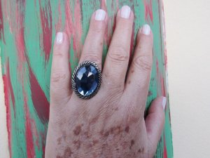 Maxi Anel Oval Azul