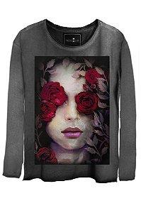 Camiseta Estonada Gola Canoa Manga Longa Rose Girl