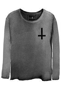 Camiseta Estonada Gola Canoa Manga Longa Invert Cross