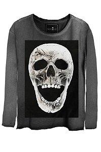 Camiseta Estonada Gola Canoa Manga Longa Skull  Fright