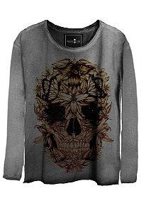 Camiseta Feminina Estonada Gola Canoa Manga Longa Skull beautiful