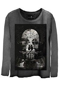 Camiseta Estonada Gola Canoa Manga Longa Skull House
