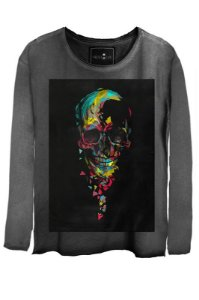 Camiseta Estonada Gola Canoa Manga Longa Skull Colors