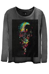 Camiseta Feminina Estonada Gola Canoa Manga Longa  Skull Colors