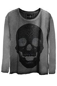 Camiseta Estonada Gola Canoa Manga Longa Skull Pearl