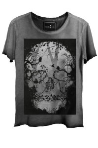Camiseta Estonada Gola Canoa Corte a Fio Skull Florest