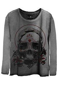 Camiseta Estonada Gola Canoa Manga Longa  Skull Exotic