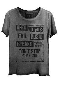 Camiseta Estonada Gola Canoa Corte a Fio Don't Stop