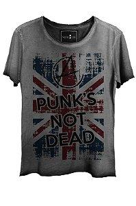 Camiseta Estonada Gola Canoa Corte a Fio London Punk not Dead