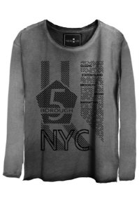 Camiseta Estonada Gola Canoa Manga Longa NYC Queens