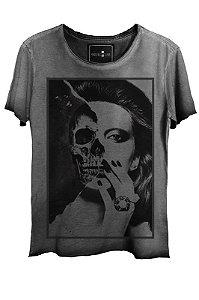 Camiseta  Estonada Gola Canoa  Skull  Girl Corte a Fio