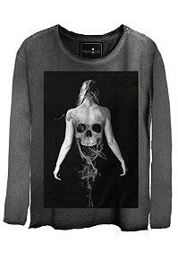 Camiseta  Estonada Gola Canoa Manga Longa Skull Ghost