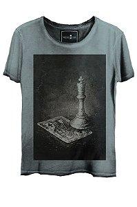 Camiseta  Estonada Gola Canoa Skull Lab King Azul