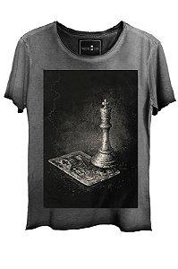 Camiseta  Estonada Gola Canoa Skull Lab King Corte a Fio