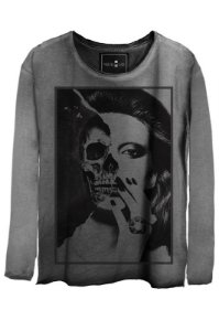 Camiseta  Estonada Gola Canoa Manga Longa Skull Girl