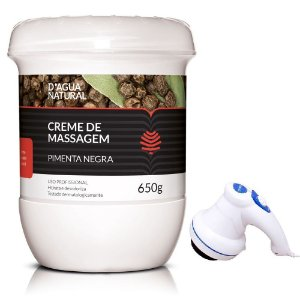 Kit Anti Celulite Pimenta Negra D'agua Natural + Massageador Pessoal