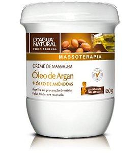 D'agua Natural Creme de massagem óleo de Argan e Amêndoas - 650g