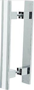 REF. 355 CROMADO - Puxador Alumínio Barra Reta com Friso Branco