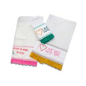 PANO DE PRATO COM MENSAGENS (Contém mensagens variadas. Confeccionado em tecido de algodão grosso de alta gramatura.)