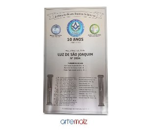 Placa Homenagem e comemoração 40 x 80 cm (Aço Inox com Brasão Colorido)