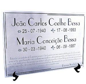 PLACA PÓSTUMA EM AÇO INOX  38 x 30CM (AÇO ESPELHADO/BRILHO OU AÇO ESCOVADO)