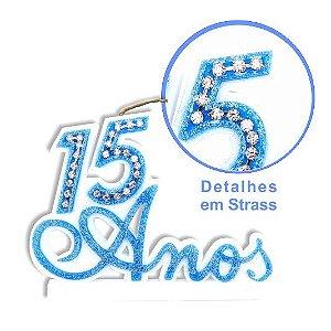 VELA PAINEL LUXO STRASS 15 ANOS(Cartela com 01 und - vela colorida com detalhes de strass)