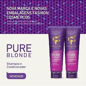 SHAMPOO E CONDICIONADOR PURE BLONDE (Fashion Cosméticos - Neutraliza a tonalidade amarelada de cabelos loiros ou grisalhos)