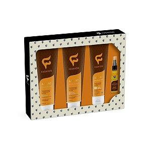 KIT PROFISSIONAL ARGAN HAIR DICIPLINE 4 ÍTENS ( Fashion Cosméticos -  4 produtos essenciais para um tratamento completo nos seus cabelos)