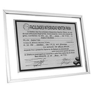 DIPLOMA EM AÇO INOX (Moldura em Vidro)