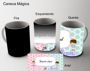 Caneca Mágica (Ideal para Chá de Revelação) Porcelana