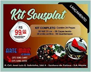 Kit Sousplat 24 peças (6 mdf 35cm + 6 capas + 6 anéis + 6 guardanapos)