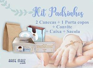 Kit Padrinhos (2 Canecas + 1 Porta Copos + Convite + Caixa + Saco Kraft