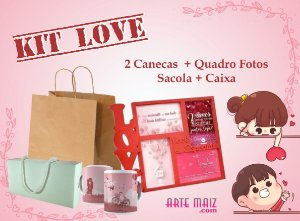 Kit Love (2 Canecas + 1 Quadro MDF + Caixa + Saco Kraft)